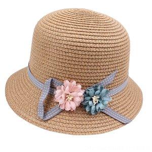 Moda carino Childrens Summers Capss, Sciarpe Guanti Cappello di paglia del cappello di Sun Beach regolabili