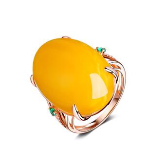 R1065 Anillos de lujo de la joyería femenina Nuevo Estilo de oro rosa Anillos Para Las Mujeres cera de abejas de cristal alternatetion para niñas de flores amor
