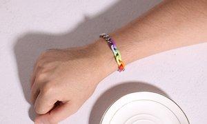 LGBT Rainbow Edelstahl Armband Herren Paar Armband Einfache Mode Stahl Acryl Rainbow Liebhaber Womens Modeschmuck Diajb