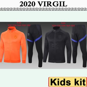 2020 Netherlands Jacket kids Kit Soccer Jerseys National Team VIRGIL VAN DIJK DE LIGT STROOTMAN Black Orange Child Kit Long Sleeve Football