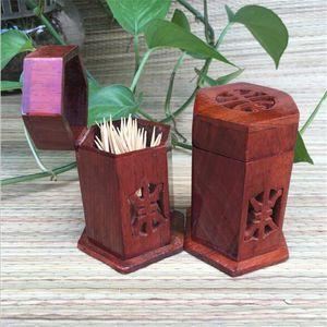 I titolari Mogano Palissandro stuzzicadenti solido Porta di legno scavato stuzzicadenti creativa Toothpick Box Casa Table