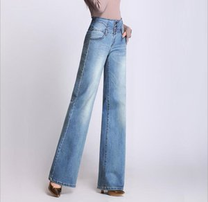 Yeni yüksek bel geniş bacak pantolon kot büyük boy toka moda retro gidip bayanlar pantolon artı boyutu mavi siyah inman kadınlar