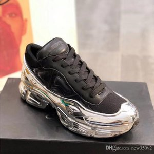 Latest Women Shoes Simons Oversized Shoes Ozweego Shoes in Silver Metallic dip effect Sole Sport Trainer Multicolor Size 35-40
