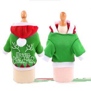 Vêtements pour animaux Chien d'hiver Sweats à capuche Couleurs Vert Joyeux Noël de chat de chien Veste Cap Animaux Outerwears Apparel XS-2XL 7 9gg E1