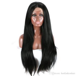 Pizzo di Yaki anteriore parrucche glueless resistente al calore Medio Parte fibra lunga nera Luce Yaki diritto parrucca sintetica Lacefront per le donne