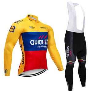 겨울 2019 팀 QUICK STEP CYCLING 자켓 19D 패드 자전거 바지 ropa ciclismo men 열 양털 BICYCLE Maillot Culotte clothing