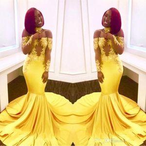 Elegante Off Yellow the Shoulder Vestidos Prom 2019 Cheap formal mangas compridas Mermaid apliques cetim Árabe Evening Vestidos Plus Size