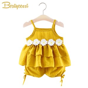 Sweet Baby Girl Clothes Summer Tank Tops with Flower + Shorts Baby Girl Outfit Infant Clothing Set 2 PCS Cotton Kids Clothes