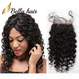 Bella Hair? Pre-Plucked Lace Closure 4*4 Top 10A Grade Best Quality Human Hair Curly Lace Closure Hair Extension Natural Color Free Shipping