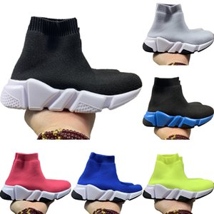 With Box 2020 Kids Speed Stretch Knit High-Top Breathable Sports Socks Boots Originals Speed Kids Buffer_Rubber Athletic Shoes