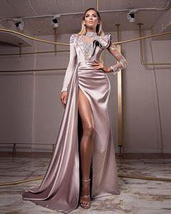 2020 arabo Aso Ebi pizzo in rilievo dei vestiti da sera lungo della sirena maniche Prom Abiti partito convenzionale Second abiti Reception