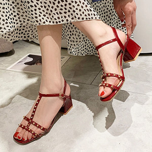 2019 designer shoes designer sandals rivets Party women Gladiator sandale luxury fashion sandal slides fish mouth wedding Shoes