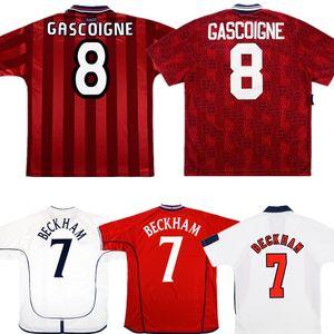 1996 Retro BECKHAM Soccer Jersey 80 89 90 92 94 98 2002 SCHOLES SHEARER OWEN chemise retour de football GERRARD FERDINAND ancien maillot manches courtes