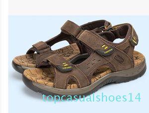 2017 sandali di estate faashion Gli uomini del cuoio genuino scarpe basse Pantofole Beach Walking casual 14t Mens Shoessmileseller