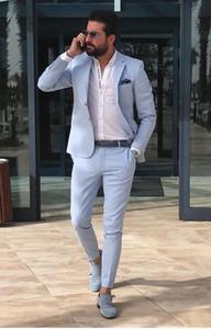 Trajes de boda para hombre traje de esmoquin azul cielo para hombre Trajes de estilo británico hechos a la medida Blazer (chaqueta + pantalón)
