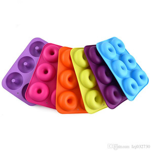 Simple method 6 doughnut mould oven baking tool Diy tool 6 silica gel cake mould kitchen baking mould A404
