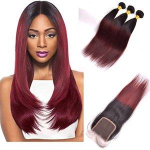 Перуанский Необработанные Human 3 волос Пучки С 4X4 Lace Closure шелковистой прямой Burgundy 1B / 99J Straight Девы волос Ombre Цвет
