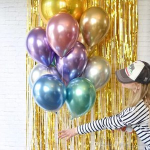 50pcs lot 12inch New Glossy Metal Pearl Latex Balloons Thick Chrome Metallic Colors Inflatable Air Balls Globos Birthday Party Decor DHL BL3