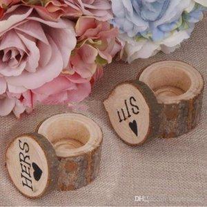 Estilo rústico romántico del anillo de bodas caja de ella y de él madera exquisitos Disfraces caja del anillo de madera