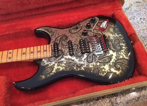 Richie Sambora İmza ST 1996 Siyah Paisley Elektro Gitar, Floyd Rose Tremolo Köprü, Kilitleme Nut, SSH Transfer, Star Klavye kakma