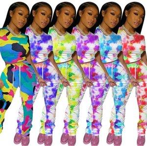 Frauen Bindung gefärbte Zweiteilige Sets Mode Slide Shirring Rüschen besetzte kurze Hülse 2pcs neue Frauen-Sommer-Klagen