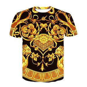 Baroque shirt Nouveau T été -Shirt 3d impression numérique T-shirt Homme Femme Vintage de luxe Floral royal Imprimer Fleur d'Or Marque T-shirt M-4XL