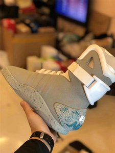 2020 new Automatic Laces Air Mag Sneakers Marty McFly's LED Shoes Back To The Future Glow In The Dark Gray Boots McFlys Sneakers 2020 new