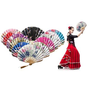 Hand Held Fans Silk Bamboo Folding Fans Handheld Folded Fan Chinese Style For Church Wedding Gift Vintage Home Decor #YJ