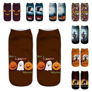 Halloween-Muster trifft 3D-Druck Kürbis-Katze Owl weibliche kurze Socken Mann-Frauen-Geburtstags-Party-Geschenk-1 95ml H1
