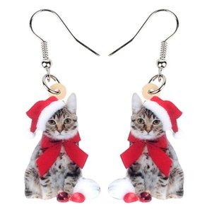 Acrílico Natal Bow-Knot Kitten Cat Brincos Dangle Gota animais Jóias Mulheres Menina adolescente Kid massa presente de aniversário Festival
