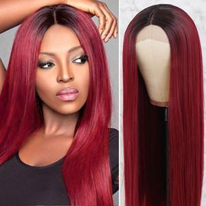 24inch Moda Uzun İpeksi Düz Peruk Sentetik Ombre Siyah Siyah Kadınlar Kanekalon Saç için Kırmızı Isıya Dayanıklı Dantel Açık Peruk Burgundy için