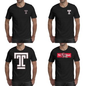 Mens impression Temple Owls football vieux Imprimer logo noir t shirt Personnalisé Slogan Band Chemises Drapeau américain Stroke pink