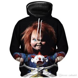 Mens Chucky Figur Designer Hoodies Herbst Langarm Kapuze Herren Sweatshirts Halloween Horror Gedruckt Paare Pullover