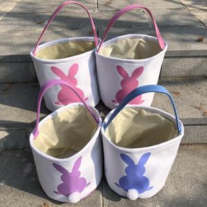 2020 Paskalya Tavşan Sepetleri DIY Tuval Doldurulmuş Tavşan Kuyruk Easter Bunny Basket Tuval Paskalya Hediye Şeker Namlu Çanta Sepetleri Totes A122106