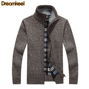 Mens Sweater Winter New Arrival 2020 Fashion Stand Collar Zipper Fleece Casual Sweatercoat Men Thicken Sweater Coat R