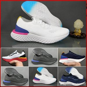 nike Flyknit Epic React New Best Fly epic react Pixel 8-bit Uomo Running Shoes ragazzo College Blu scuro Triple grigio scuro Knit Designer Sport Sneakers donna