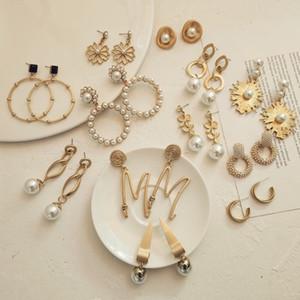 Flatfoosie Fashion Statement Earrings For Women 2020 New Matte Gold Geometric Round Simulated Pearl Dangle Drop Earrings Jewelry