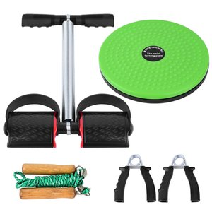 5 PCS Fitness Set with Spring Pedal Puller Waist Twist Board Hand Grip Adjustable Jump Rope for Home Office Gym