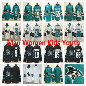 Hommes Femmes Enfants San Jose Sharks Hockey sur glace chandails # 9 Evander Kane 19 Joe Thornton 39 Logan Couture 88 Brent Burns 65 Erik Karlsson Jersey