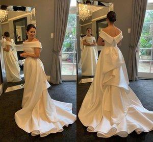 Simple Satin A-Line Wedding Dresses Sexy Off Shoulder Backless Sweep Train Long Garden Bridal Gowns vestidos de novia