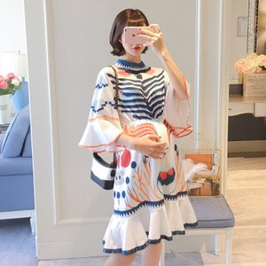 Maternity dress spring new fashion high round neck graffiti independent printing maternity dress ruffle mid-length