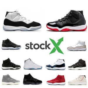 Nike Air Jordan Retro 11 shoes Stock X Bred 11 11S Concord 45 Space Jam Snakeskin Men Basketball Shoes Heiress Gamma Blue Snake skin mens Sport Designer Sneakers Trainer