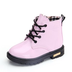 Children Designer Martin Boots Kids Shiny Leather Snow Boots Boys and Girls Solid Color Shoes Child Luxury Flat Shoes 2020 New Fashion