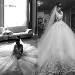 2020 Luxury White Tulle Saudi Arabia Wedding Dresses Jewel Long Sleeve Appliques Bridal Gown Custom Made Dubai Party Gowns