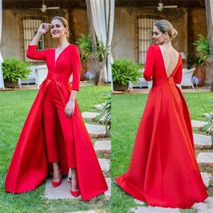 2019 elegant red lace a line evening dresses floor length long sleeves prom gowns custom jumpsuits women formal dress prom