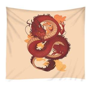 Flying Fire Rouge Chinois Dragon Totem Tapisserie Mur Art Suspendu Impression Serviette De Plage Tapis De Yoga Couverture Imprimé Tapis Châle Drapeau