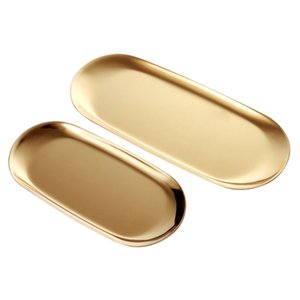 2 Sets Gold Oval Stainless Steel Trinket Tray,Towel Storage Dish Plate Tea Fruit Trays Cosmetics Jewelry Plate
