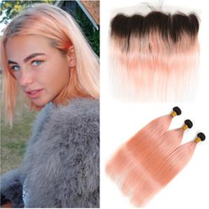 # Dantel Frontal 13x4 ile Frontal Kapatma Düz Ombre Gül Pembe İnsan saç örgüleri ile 1B / Rose Gold Ombre Brezilyalı İnsan Saç 3Bundles
