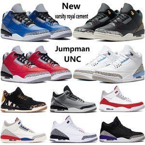 Новый Jumpman 3 3s мужских ботинок баскетбола животного инстинкта джокер чикаго UNC SE Огонь Красного подправлять черные белых мужчина стилиста кроссовок инструкторов