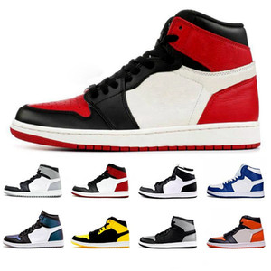 2019 New High OG Bring Toe Chicago Banido Jogo Royal Tênis De Basquete Dos Homens 1 s Top 3 Shattered Backboard Sombra Sneakers Multicolor Com Caixa